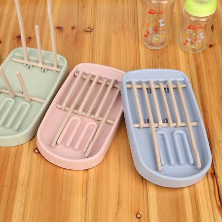 普润 小麦秸秆奶瓶沥水架 杯子架 宝宝奶瓶奶嘴收纳架沥水篮 北欧绿