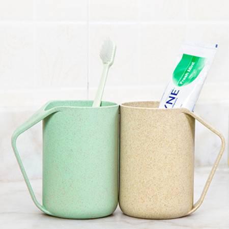 普润 小麦秸秆洗漱杯 情侣水杯牙刷杯 简约环保漱口杯 牙刷杯牙缸杯子 北欧粉色