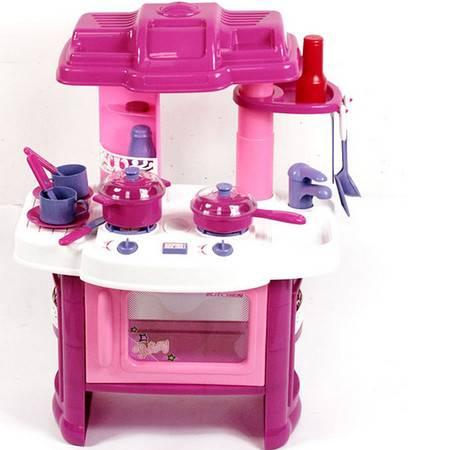 普润 雄城多功能厨房组合台103 仿真厨房厨具工作台女孩多功能做饭玩具组合套装