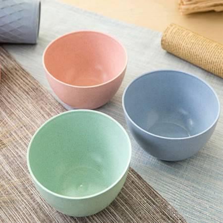 普润 4只装小麦秸秆米饭碗儿童吃饭碗 创意家用餐具学生甜品汤碗 蓝色