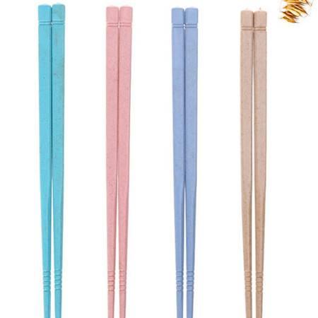 普润 10双装小麦秸秆儿童筷子 无漆无蜡防滑尖头筷子 学生便携餐具 粉色