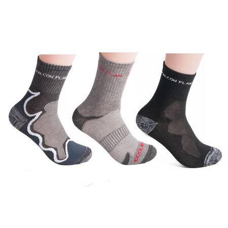 猎鹰计划 户外袜登山徒步袜子加厚保暖 速干运动袜透气快干袜男 篮球袜防臭吸汗 三双装