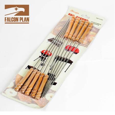 猎鹰计划 烧烤针木柄烤针不锈钢加长烤针10支装