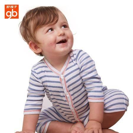 好孩子 婴儿春夏装男女宝宝哈衣纯棉长袖爬服连体衣服蓝色螺纹开襟设计
