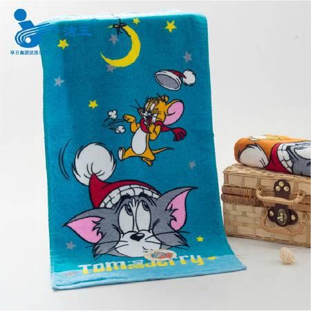 孚日洁玉 儿童毛巾 童巾  纯棉 挂巾卡通猫和老鼠 小毛巾25x50cm