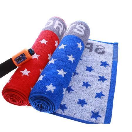 洁玉正品 纯棉厚实运动巾 加长款110cm 运动毛巾 吸水 蓝/红色 一条装