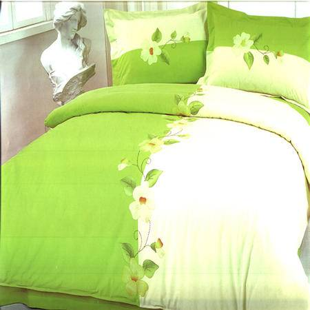 华智家纺 全棉手工补花四件套 1.8米床 绿色心情