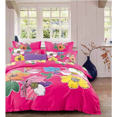 华智家纺 正品高档长绒棉四件套欧式床上用品 纯棉床单被套 炫彩