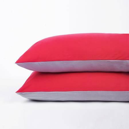 凯诗风尚 纯简系列 全棉针织枕套一对 45*100 桃红色