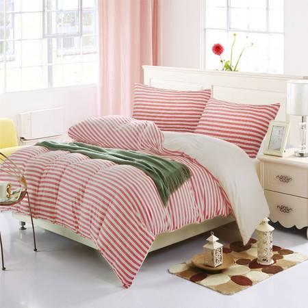 凯诗风尚 床品套件 四件套纯棉 无印床笠精梳天竺棉良品裸睡床单被套 棕红中条1.8床