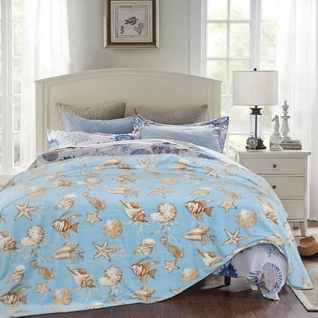 凯诗风尚 法兰绒毯 空调毯 柔软盖毯 保暖床单 海底世界 200*230