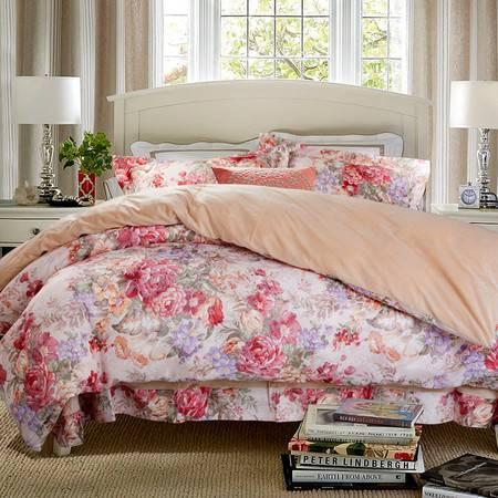 凯诗风尚 丝棉提花 床上用品 四件套 花影缤纷 驼色