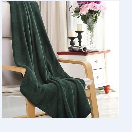 凯诗风尚 雅诺系列素色珊瑚绒毯子 墨绿色 150*200