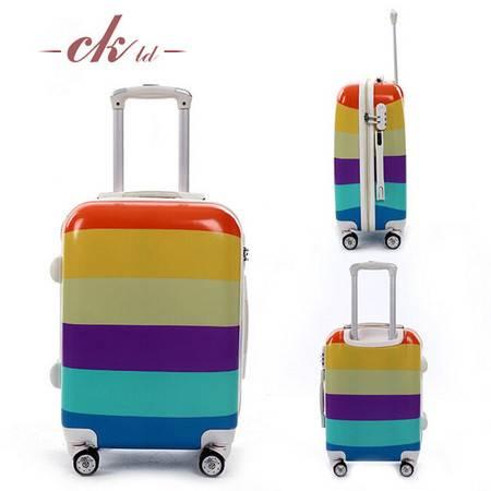 乔顺达 时尚拉杆行李箱 大容量登机箱 20寸彩色横条纹 密码旅行箱QSD001