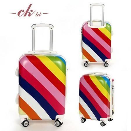 乔顺达 PC彩虹条纹印花图案超大白轮拉杆箱行李箱旅行箱 20寸 R601