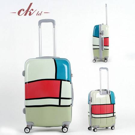 乔顺达 大容量密码拉杆旅行箱 万向轮拼色旅行箱 24寸 QSD008