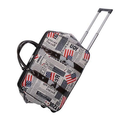 爱芙莱妮 防雨旅行包手提牛津布20寸拉杆包学生行李包 国旗图案