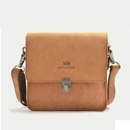 名仕MS 欧美潮 疯马皮竖款休闲小单肩包 复古户外斜跨包 MS8002