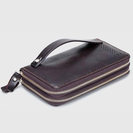 名仕MS 商务钱包 男士头层牛皮手拿包钱夹包 双拉链多卡位手包 MS9005