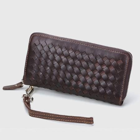 名仕MS 潮流高档牛皮编织手拿包钱包 长款多卡位男女手机包 MS9011