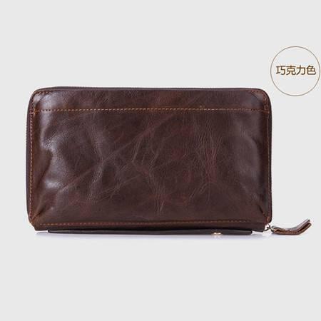名仕MS 大容量男士钱包 真皮长款皮夹 多卡位可放烟盒手拿包 MS9009