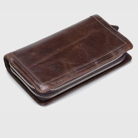 名仕MS 商务钱包 男士头层牛皮手拿包 双拉链多卡位皮夹包 MS9003