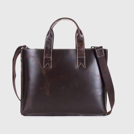 名仕MS 男士时尚潮流超薄油蜡皮手提包 简约单肩商务公文包 MS8055