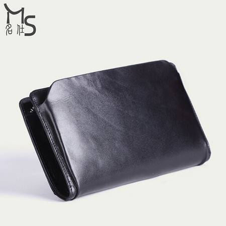 名仕 头层牛皮长款钱包 男士真皮手拿包 大容量商务手抓包 MS9012