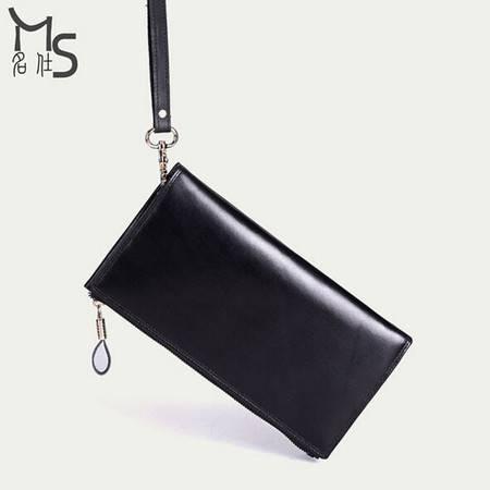 名仕 高档男士长款钱包 头层牛皮商务手拿包 真皮时尚手抓包 MS9014