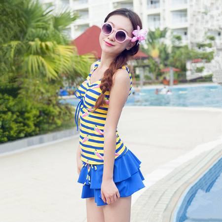 采菲 女士连体裙摆式游泳衣平角底裤条纹叠裙少女显瘦泳衣 5120648