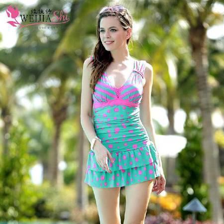 维佳诗 1410 女士连体裙式 可爱波点 显瘦遮肚钢托泳衣 99573