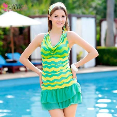 维佳诗 女钢托罩杯小胸聚拢分体裙式遮肚保守装游泳衣 351376