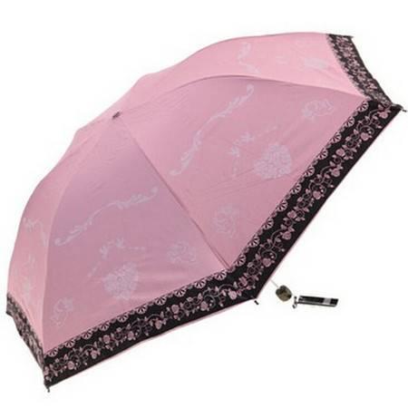 天堂伞 黑胶铅笔伞迷你三折叠超强防紫外线太阳伞晴雨伞 33198