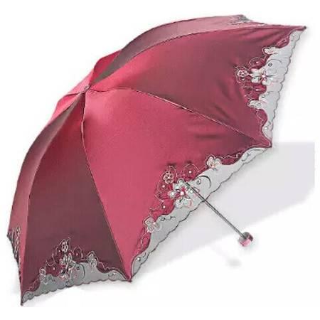 天堂伞 花之心语黑胶防紫外线三折伞 蕾丝钢骨遮阳晴雨伞 386E
