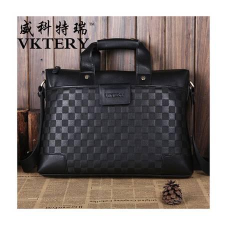 威科特瑞 黑色棋盘格商务男包手提包单肩斜跨 VKTR1010