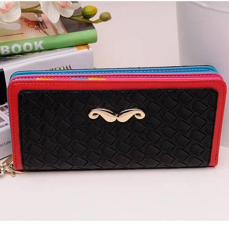 卡希洛 韩版女式钱包 小胡子长款拉链时尚卡包钱包 0605