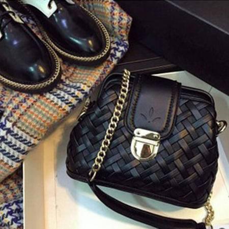 卡希洛 新款韩版手提单肩斜跨女包 复古编织链条包 kz01