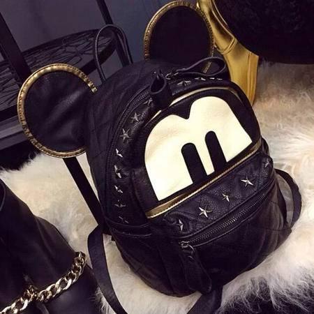 卡希洛 双肩包 时尚旅行包米奇卡通背包铆钉书包女 WDLY025