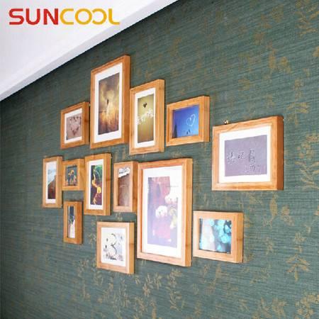 阳光谷 竹子13框简约照片墙 实木多相框加厚像片墙 组合相框 YZJX2001