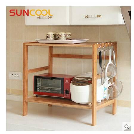 阳光谷 厨房多功能层架落地 实木储物架烤箱架子 两层60cm长 YZJW1010