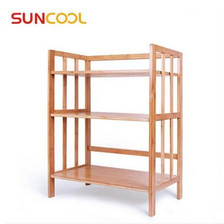 阳光谷 厨房置物架 多功能层架落地 实木储物架烤箱架子 三层50cm长 YZJW1010