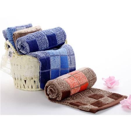 洁玉 孚日洁玉纯棉方块色织多臂毛巾 运动型长款面巾 柔软吸水3982-JY1010F咖啡