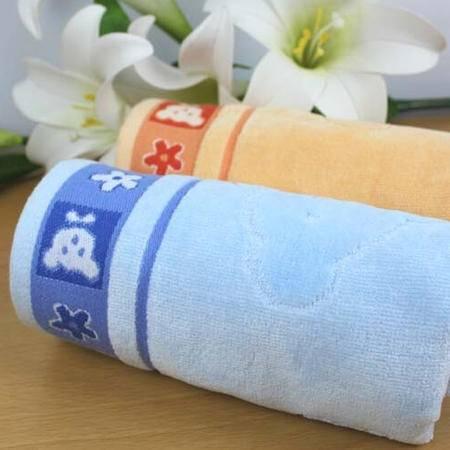 孚日洁玉 家纺提缎割绒纯棉枕巾两条袋装 PJ-12 蓝色桔色