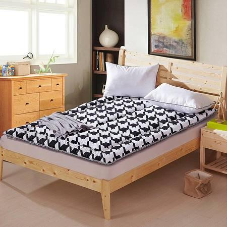 天囍坊超柔黑白ab版床褥垫软床垫可折叠床护垫1.5/1.8米床双人加厚