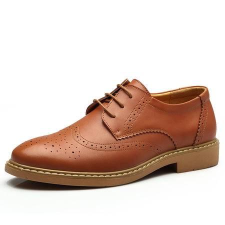 正品男鞋 男士商务系带单鞋欧美风雕花布洛克鞋 潮流低帮鞋子