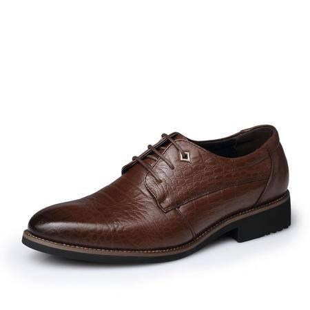春秋商务休闲皮鞋男真皮尖头系带新款男鞋子男士青年男软面皮皮鞋