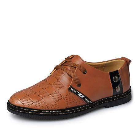 秋季英伦商务男士休闲鞋男鞋 真皮手工鞋低帮鞋休闲皮鞋