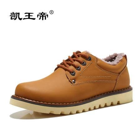 凯王帝男鞋冬季加绒男棉鞋男士棉皮鞋羊毛棉皮鞋男皮毛一体休闲鞋