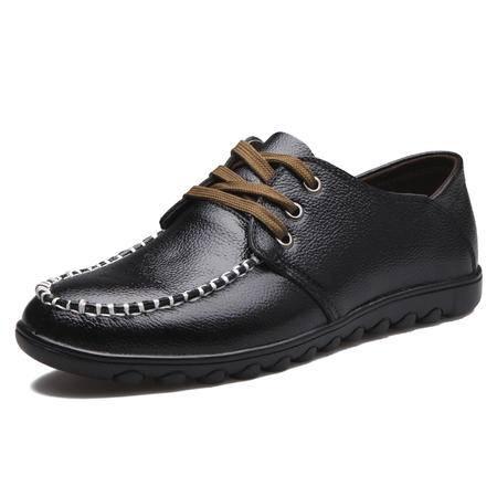 男鞋皮鞋正品新款商务休闲真皮头层牛皮低帮鞋经典套单鞋