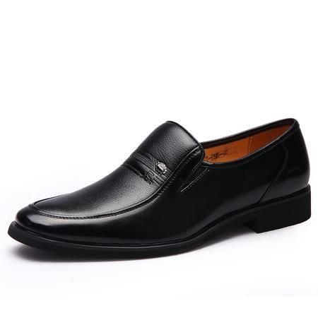 男士皮鞋真皮商务正装休闲皮鞋黑色套脚婚鞋日常工作鞋子正品牛皮